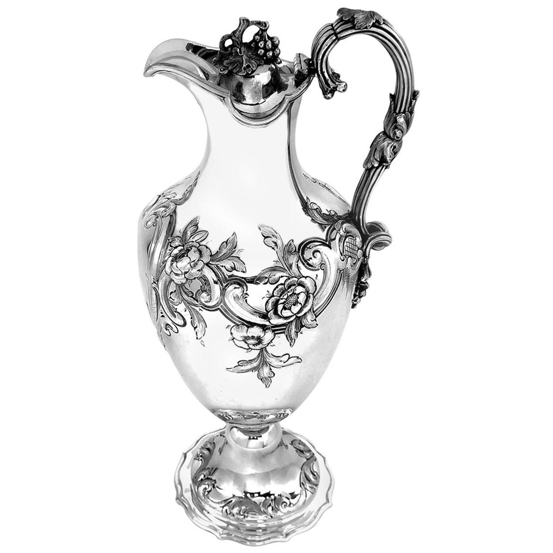 Antique Victorian Sterling Silver Claret Jug / Ewer / Pitcher 1869 Wine / Water