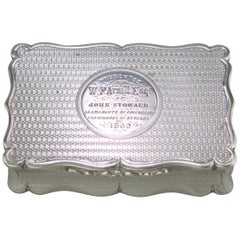 Antique Victorian Sterling Silver Commemorative Snuff Box, Robert Thornton, 1868