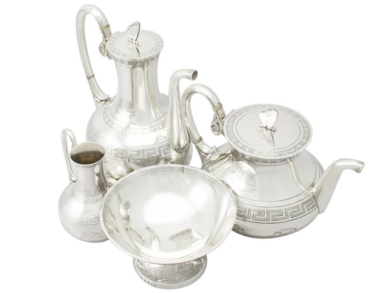 Aesthetic Movement Antique Victorian Sterling Silver Composite Four-Piece Tea and Coffee Service For Sale