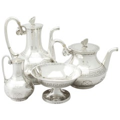 Antique Victorian Sterling Silver Composite Four-Piece Tea and Coffee Service