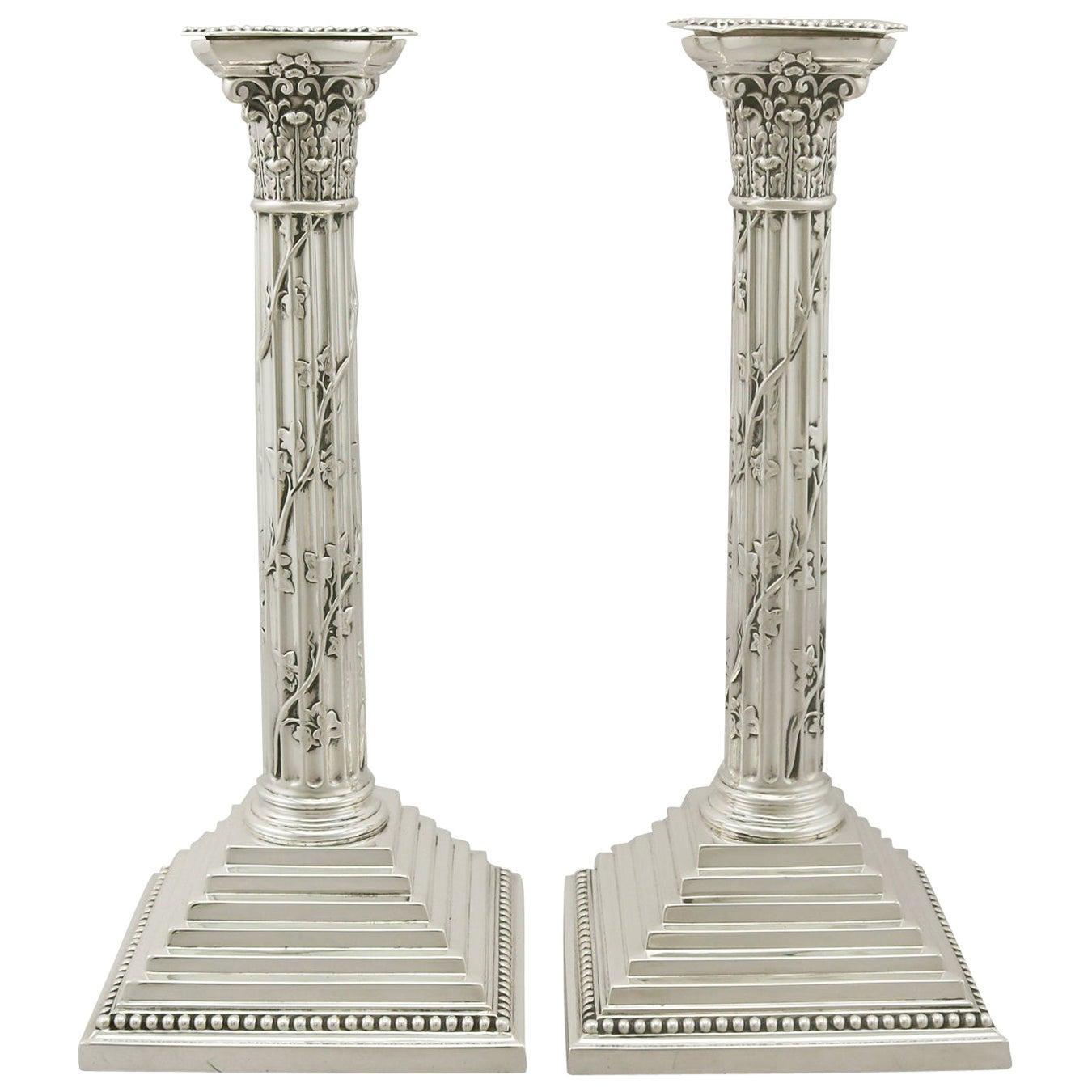 Antique Victorian Sterling Silver Corinthian Column Candlesticks