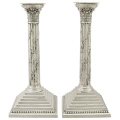 Antique Victorian Sterling Silver Corinthian Column Candlesticks