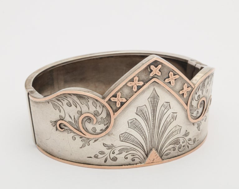 Antique Victorian Sterling Silver Cuff Bracelet In Excellent Condition For Sale In Stamford, CT
