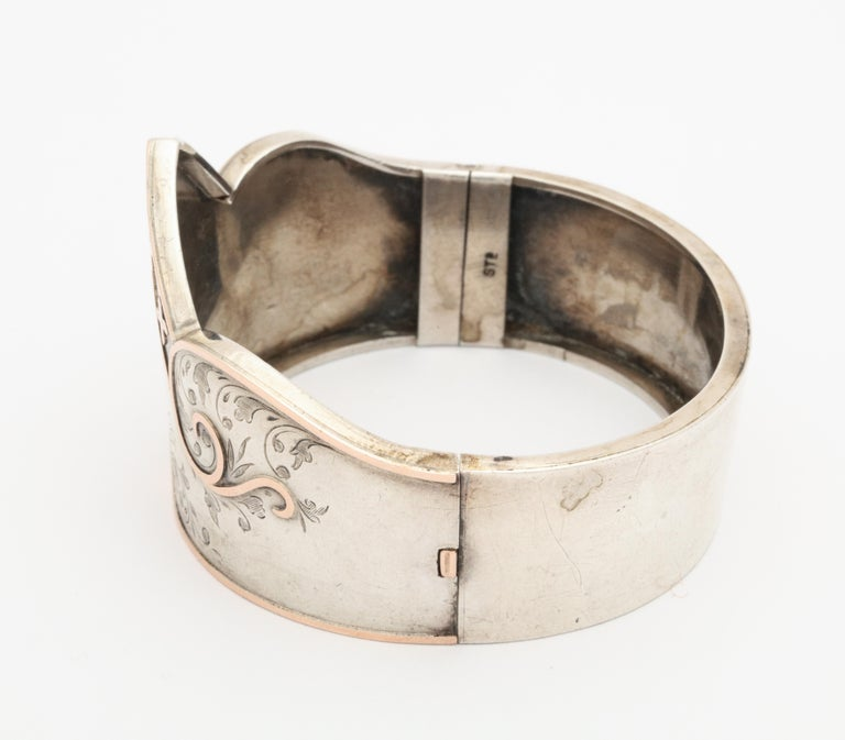 Women's Antique Victorian Sterling Silver Cuff Bracelet For Sale