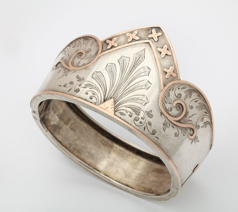 Antique Victorian Sterling Silver Cuff Bracelet For Sale 3