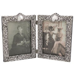 Antique Victorian Sterling Silver Double Photograph Frame, 1895