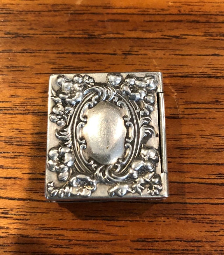 Antique Victorian Sterling Silver Double Sided Stamp Box by Whiting Mfg. For Sale 1