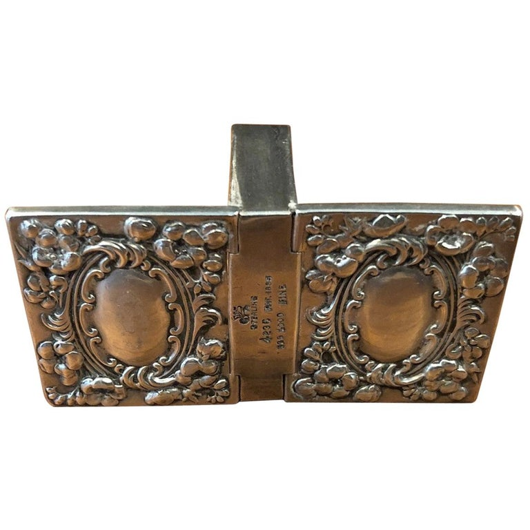 Antique Victorian Sterling Silver Double Sided Stamp Box by Whiting Mfg. For Sale