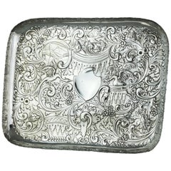 Antique Victorian Sterling Silver Elaborately Engraved Tray, London 1888