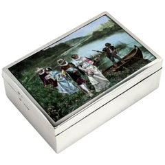 Antique Victorian Sterling Silver and Enamel Box 1888 Wood Lined Cigarette Box