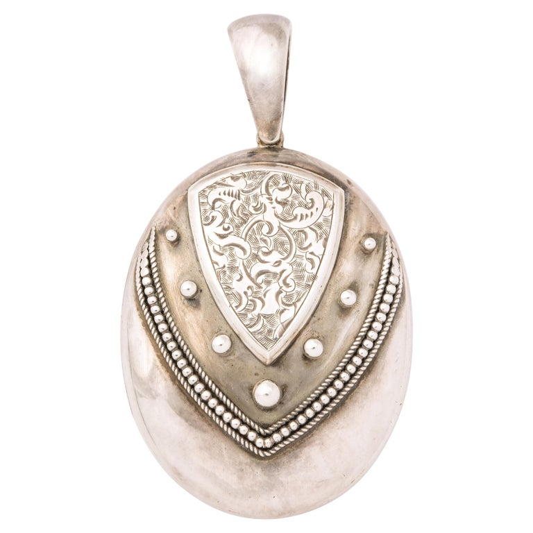 Antique Victorian Sterling Silver Engraved Locket For Sale