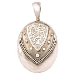 Antique Victorian Sterling Silver Engraved Locket