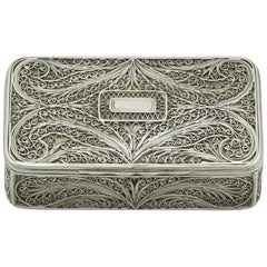 Antique Victorian Sterling Silver Filigree Box