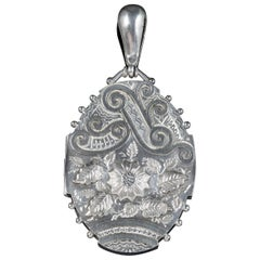Antique Victorian Sterling Silver Floral Locket, circa 1900