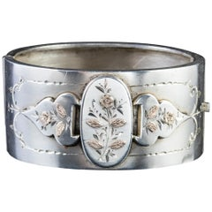 Antique Victorian Sterling Silver Forget Me Not Bangle Dated 1883