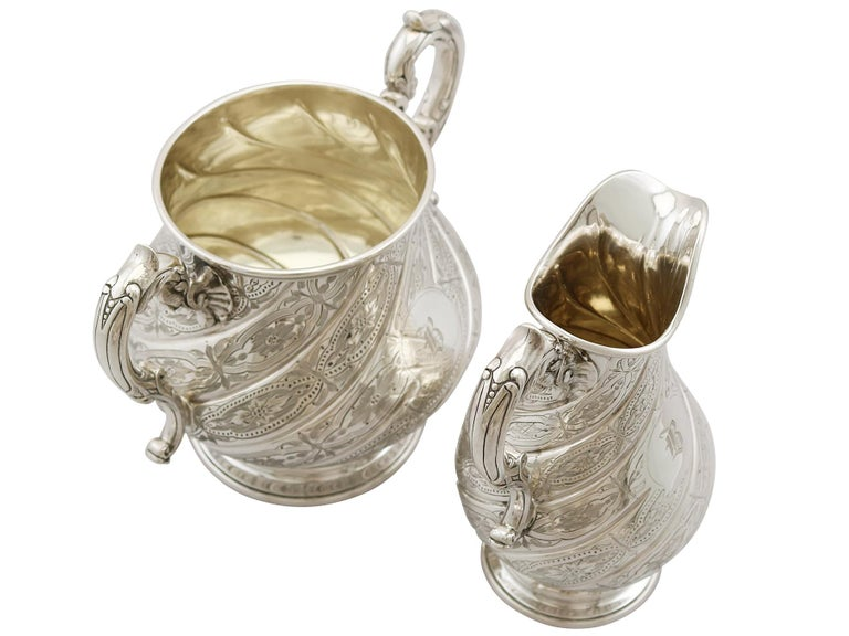 Antique Victorian Sterling Silver Four-Piece Tea and Coffee Service For Sale 5