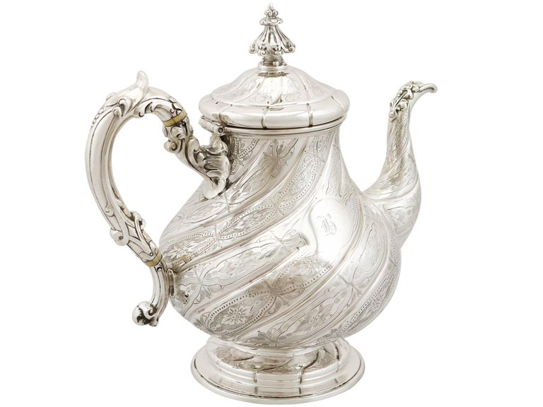 Mid-19th Century Antique Victorian Sterling Silver Four-Piece Tea and Coffee Service For Sale