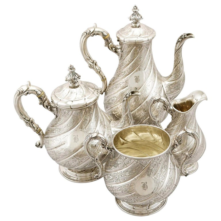 Antique Victorian Sterling Silver Four-Piece Tea and Coffee Service For Sale