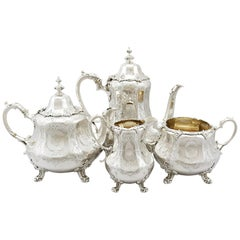 Antique Victorian Sterling Silver Four Piece Tea and Coffee Service