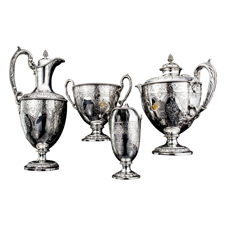 Antique Victorian Sterling Silver Four-Piece Tea Service Set
