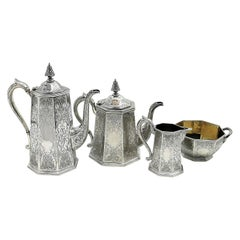 Antique Victorian Sterling Silver Four-Piece Tea Set 1854 Teapot Coffee Pot