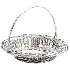 Antique Victorian Sterling Silver Fruit Bread Basket London, 1858, 19th Century