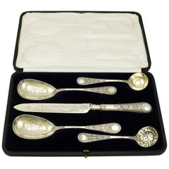 Antique Victorian Sterling Silver Fruit Serving Set by Sibray, Hall & Co