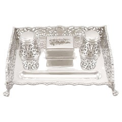 Antique Victorian Sterling Silver Gallery Inkstand, 1898