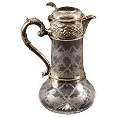 Victorian Sterling Silver Gilt and Cut Crystal Claret Jug, 1873, 19th Century