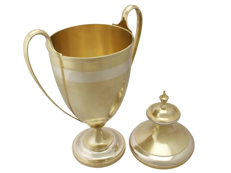 Late 19th Century Antique Victorian Sterling Silver Gilt Presentation Cup and Cover For Sale