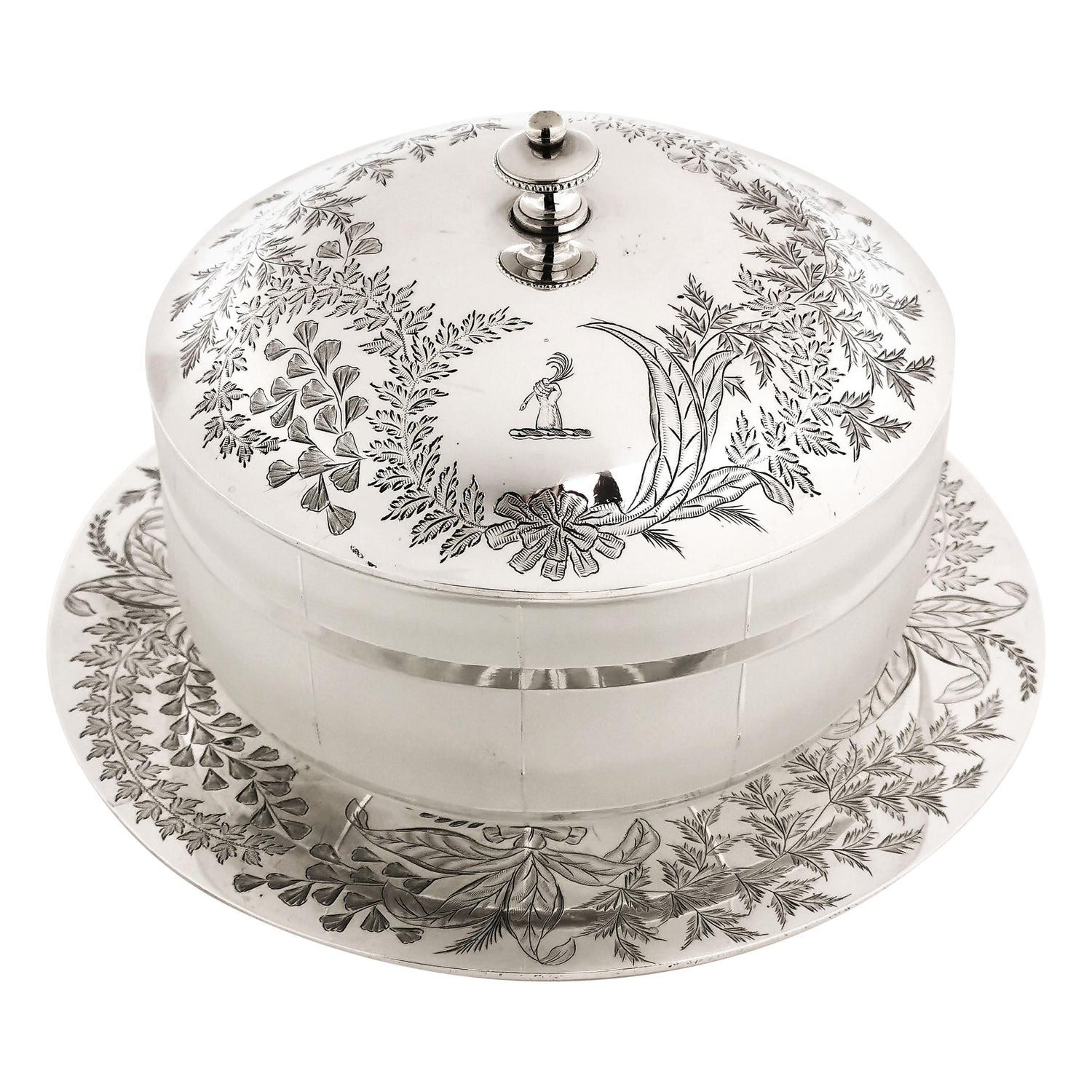Antique Victorian Sterling Silver and Glass Butter Dish 1871