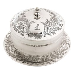 Antique Victorian Sterling Silver and Glass Butter Dish, 1871
