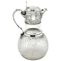 Antique Victorian Sterling Silver & Glass Claret Jug / Wine Decanter  1864