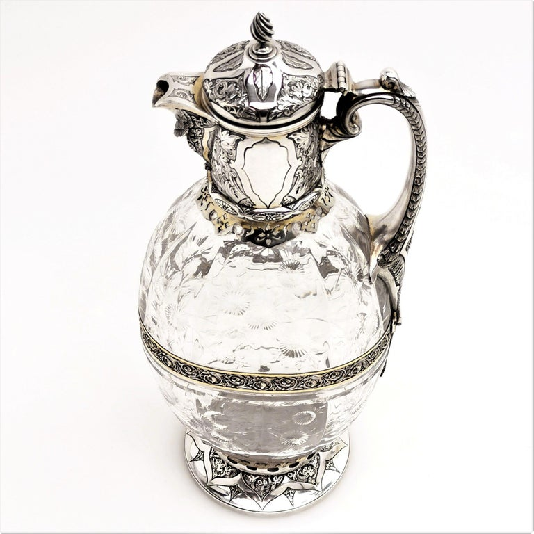 English Antique Victorian Sterling Silver & Glass Claret Jug / Wine Jug / Ewer, 1882 For Sale