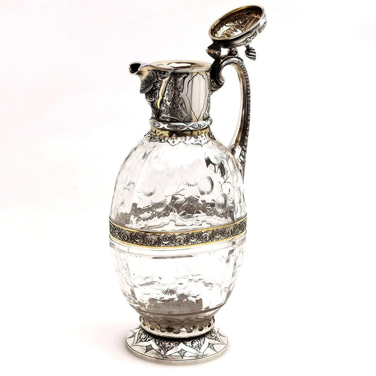 19th Century Antique Victorian Sterling Silver & Glass Claret Jug / Wine Jug / Ewer, 1882 For Sale