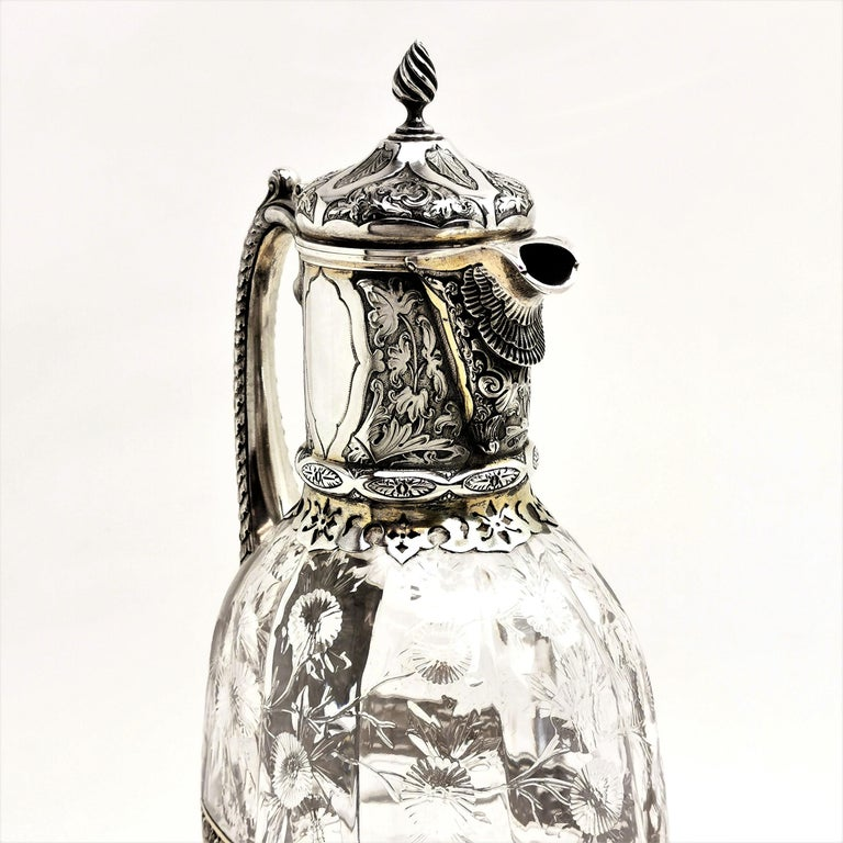 Antique Victorian Sterling Silver & Glass Claret Jug / Wine Jug / Ewer, 1882 For Sale 1
