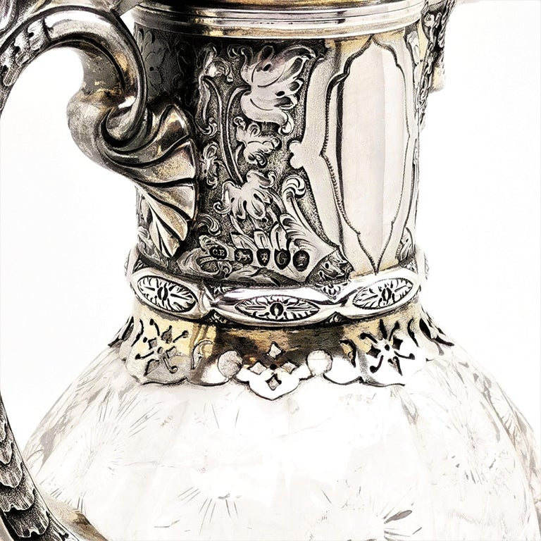 Antique Victorian Sterling Silver & Glass Claret Jug / Wine Jug / Ewer, 1882 For Sale 2