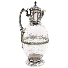 Antique Victorian Sterling Silver & Glass Claret Jug / Wine Jug / Ewer, 1882