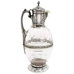 Antique Victorian Sterling Silver & Glass Claret Jug / Wine Jug / Ewer, 1882