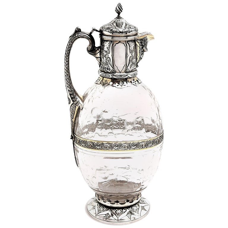 Antique Victorian Sterling Silver & Glass Claret Jug / Wine Jug / Ewer, 1882 For Sale