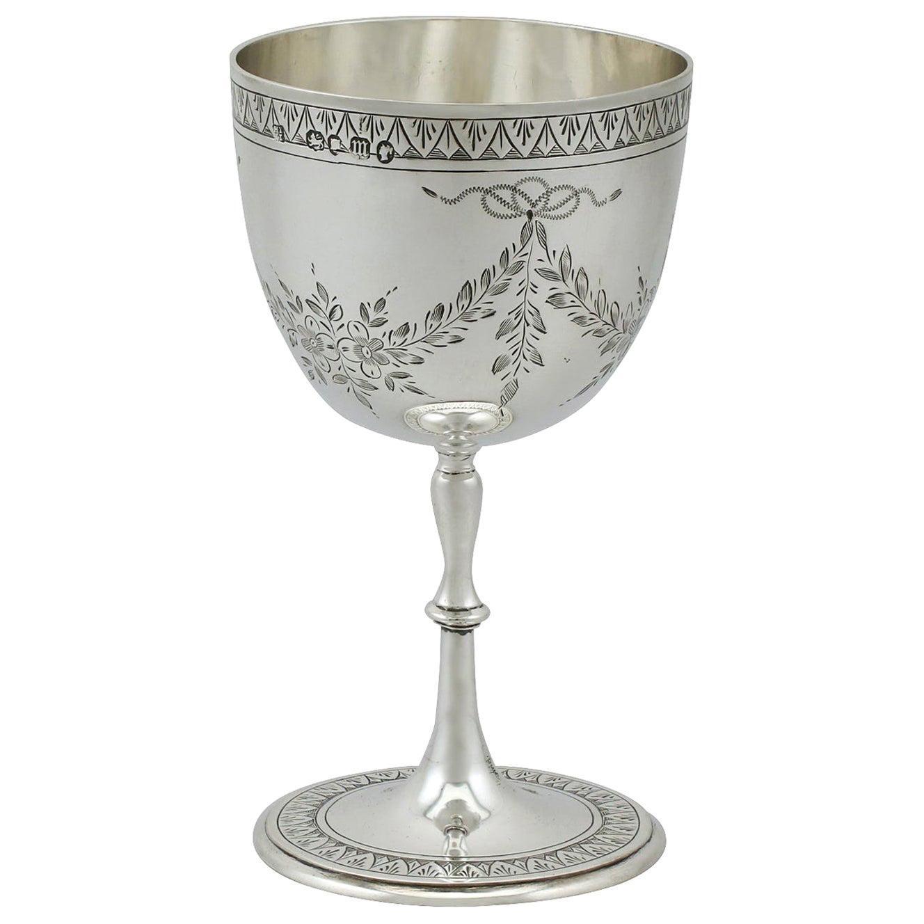 Antique Victorian Sterling Silver Goblet, 1867