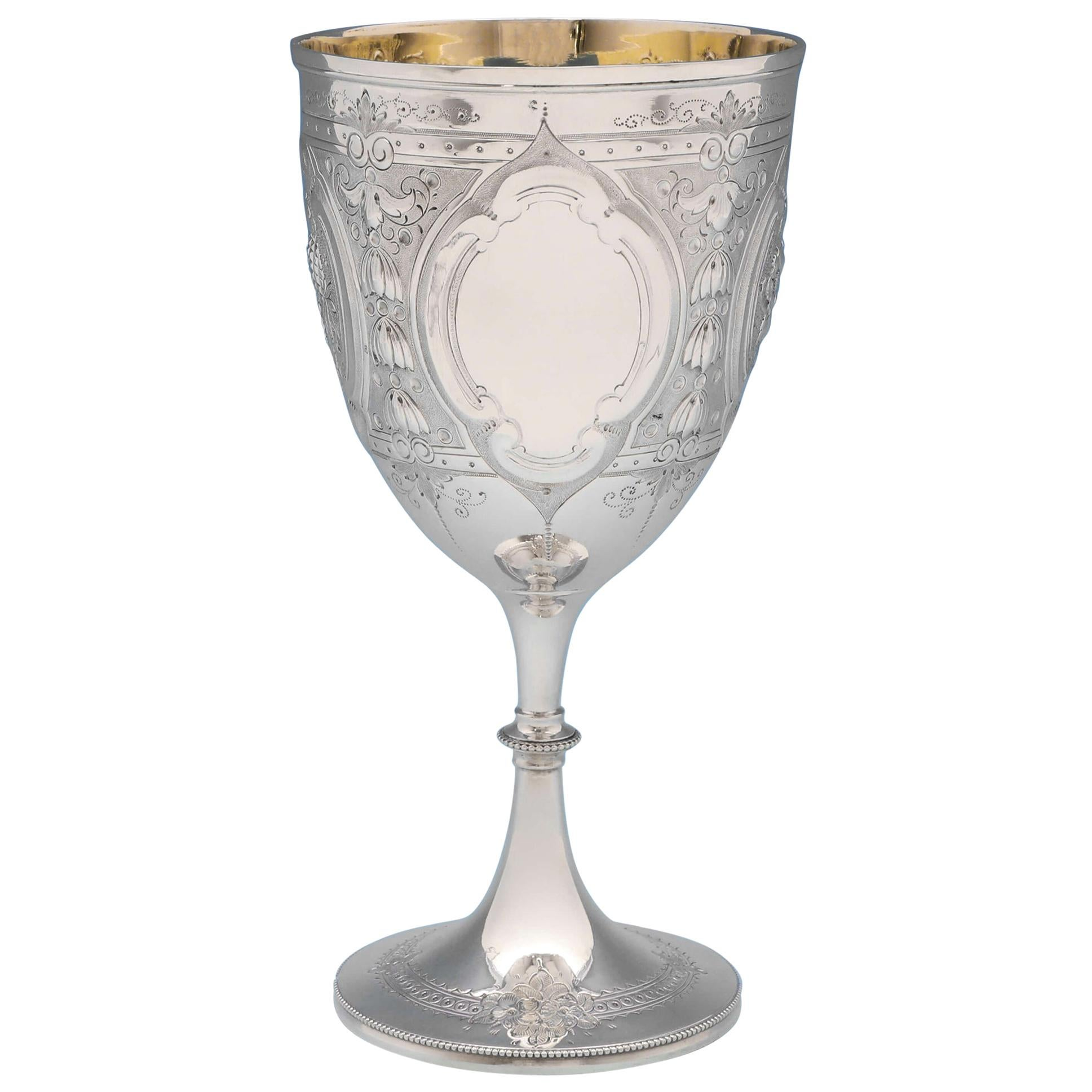 Antique Victorian Sterling Silver Goblet by Henry Wilkinson & Co. Sheffield 1876