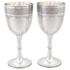 Antique Victorian Sterling Silver Goblets, 1885