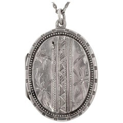 Antique Victorian Sterling Silver Hand Engraved Leaves and Stem Locket and Chain