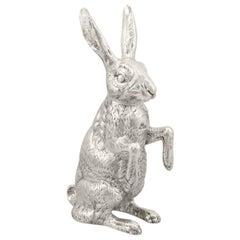 Antique Victorian Sterling Silver Hare Sugar Box