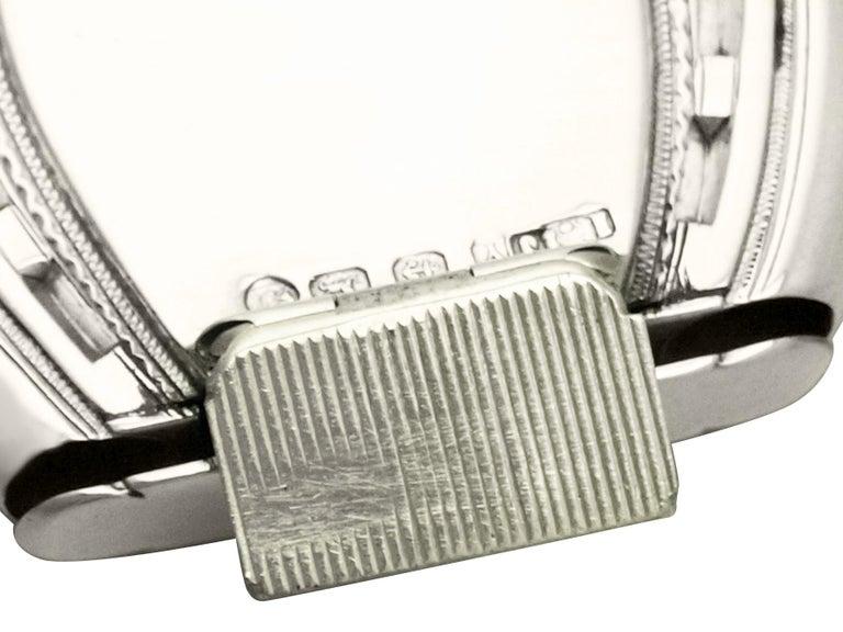 Embossed Antique Victorian Sterling Silver Horseshoe Vesta Case For Sale