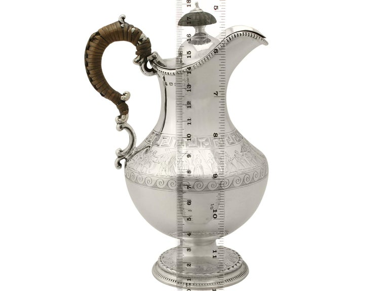 Antique Victorian Sterling Silver Hot Water Jug For Sale 7