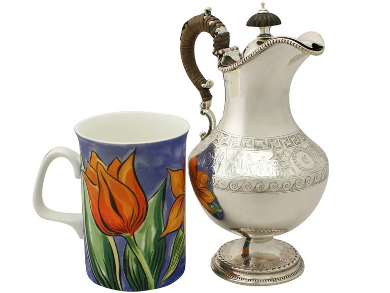 English Antique Victorian Sterling Silver Hot Water Jug For Sale