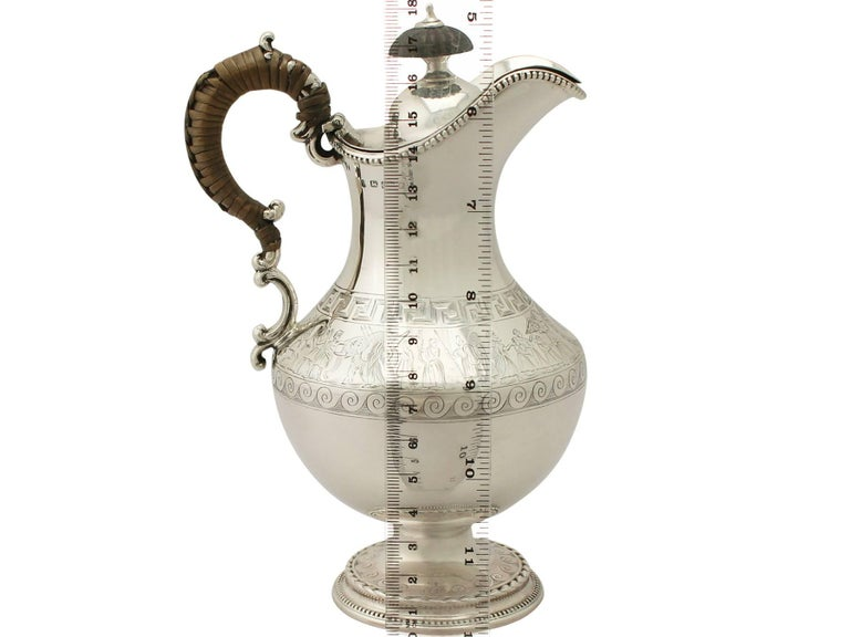 Antique Victorian Sterling Silver Hot Water Jug For Sale 3