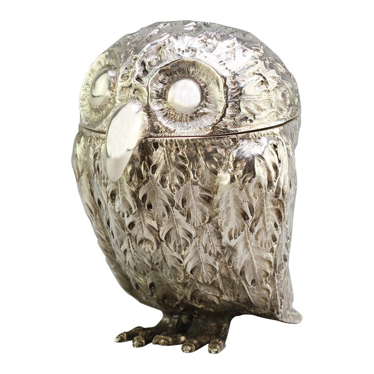 Antique Victorian Sterling Silver Ink Stand in the Shape of an Owl, London, 1848 For Sale
